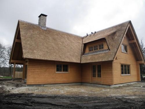 traditionele rietdekker, rietgedekt fins huis